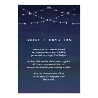 Night Sky Garlands of Stars Wedding Guest Info 9 Cm X 13 Cm Invitation Card