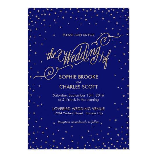 Night Sky Gold Stars Fancy Wedding Invitation
