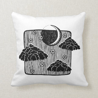 Night Sky Half Moon Clouds Illustration Pillow