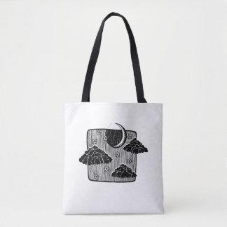 Night Sky Half Moon Clouds Illustration Tote Bag