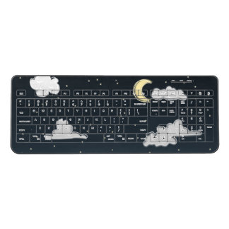 Night sky, moon and clouds wireless keyboard