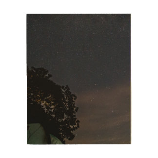 Night Sky Shooting Stars Camp Wood Wall Decor