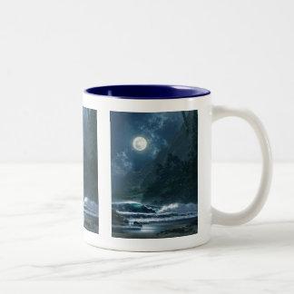 night sky with river Two-Tone coffee mug