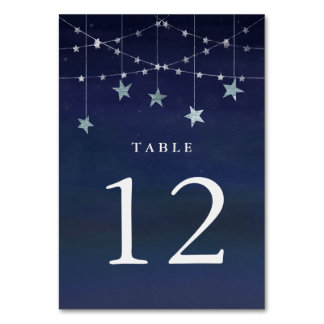 Night Sky with Whimsical Garlands of Stars Table Card