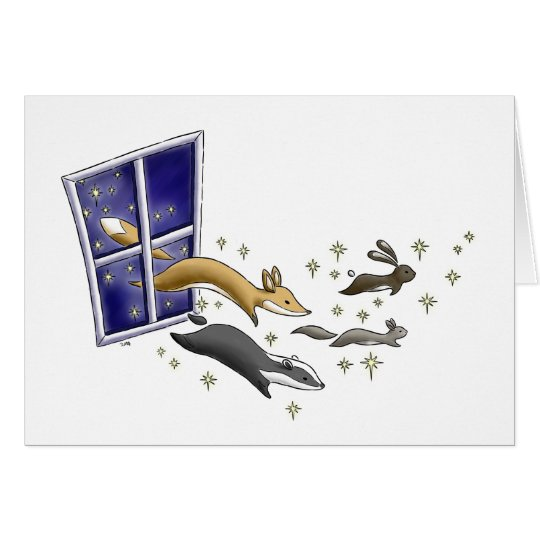Night Sky woodland animals and stars art card