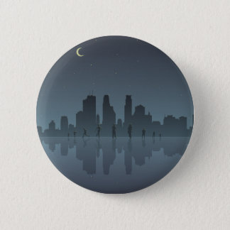 Night Skyline & Silhouettes 6 Cm Round Badge