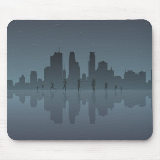 Night Skyline & Silhouettes Mouse Mat