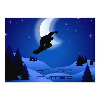 Night Snowboarding Mountain Birthday Invite
