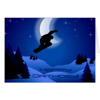 Night Snowboarding Mountain HappyBirthday Greeting Greeting Card