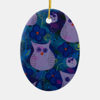 Night Song with Owls, Blue Christmas Ornament