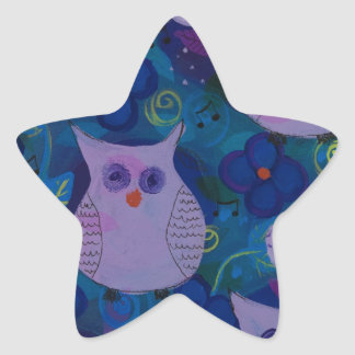 Night Song with Owls, Blue Star Sticker