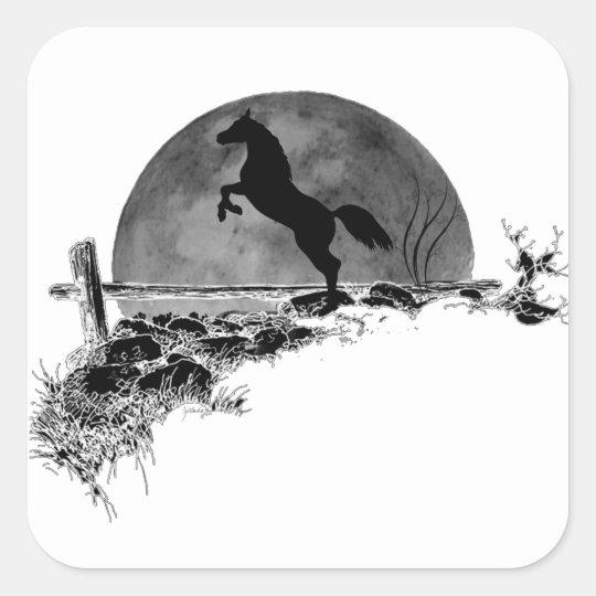 Night Stallion Square Sticker