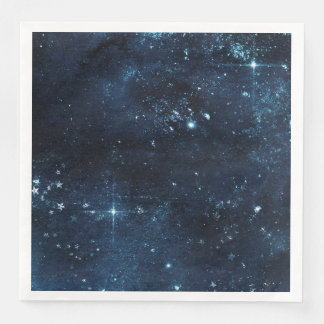 Night Star Sky Celestial Galaxy Watercolor Wedding Paper Napkin