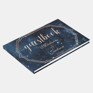 Night Star Sky Celestial Galaxy Wedding Monogram Guest Book