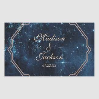 Night Star Sky Celestial Galaxy Wedding Monogram Rectangular Sticker