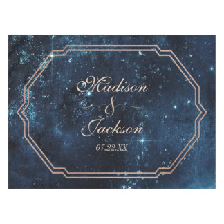 Night Star Sky Celestial Galaxy Wedding Monogram Tablecloth