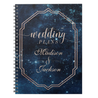 Night Star Sky Celestial Galaxy Wedding Planner Notebook