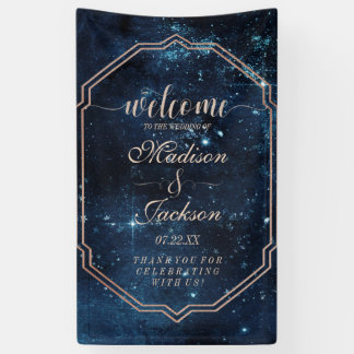 Night Star Sky Celestial Galaxy Wedding Welcome Banner