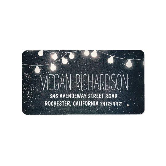 Night Stars and String Lights Wedding Label