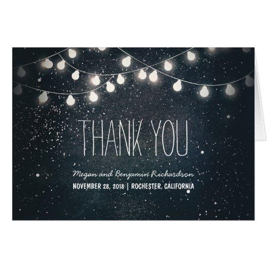 Night Stars and String Lights Wedding Thank You