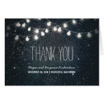 Night Stars and String Lights Wedding Thank You Note Card