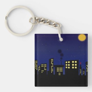 Night Time Cityscape Double-Sided Square Acrylic Key Ring