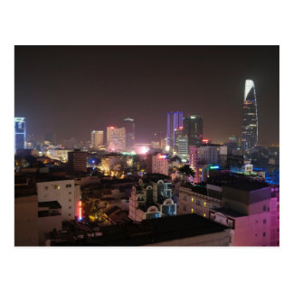Night time cityscape of Ho Chi Minh City. Postcard