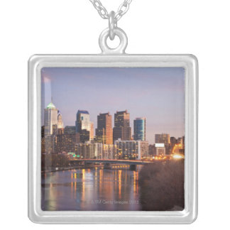 Night time panoramic view at Philadelphia Silver Plated Necklace
