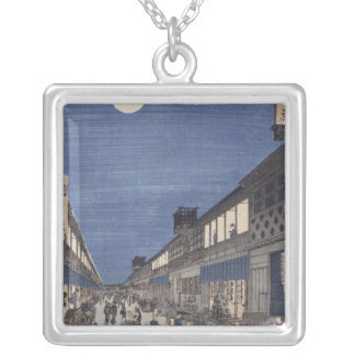 Night time view of Saruwaka Street Silver Plated Necklace