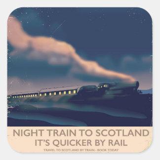 Night train to Scotland Square Sticker