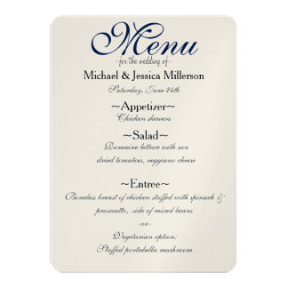 Night Under the Stars Wedding Menu Card