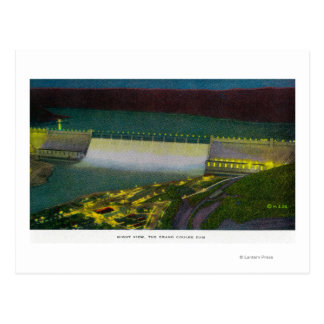 Night View, Grand Coulee Dam Postcard