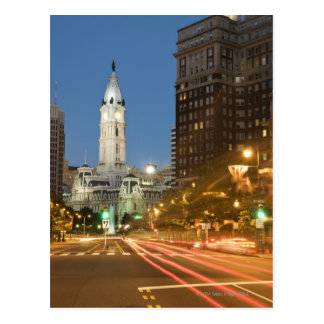 Night view of Benjamin Franklin parkway Postcard