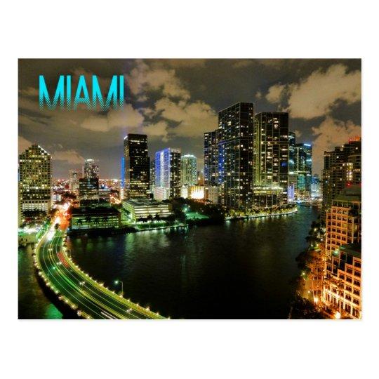 Night View of Brickell Skyline in Miami, Florida