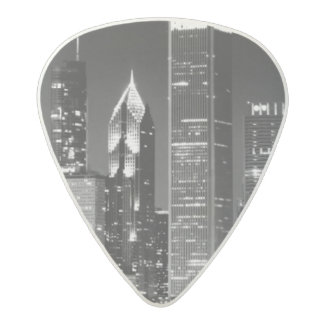Night view of Chicago's famous cityscape Acetal Guitar Pick