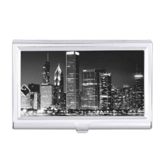 Night view of Chicago's famous cityscape Business Card Holder
