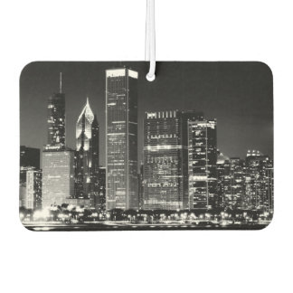 Night view of Chicago's famous cityscape Car Air Freshener