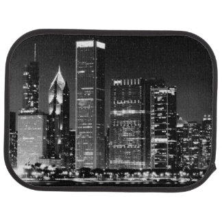 Night view of Chicago's famous cityscape Car Mat