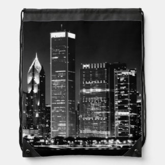 Night view of Chicago's famous cityscape Drawstring Bag