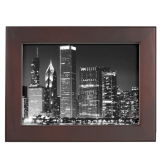 Night view of Chicago's famous cityscape Keepsake Box