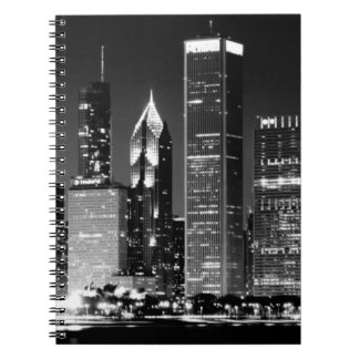 Night view of Chicago's famous cityscape Notebooks