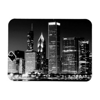Night view of Chicago's famous cityscape Rectangular Photo Magnet