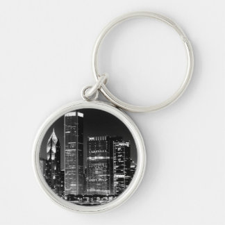 Night view of Chicago's famous cityscape Silver-Colored Round Key Ring