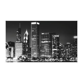 Night view of Chicago's famous cityscape Stretched Canvas Print