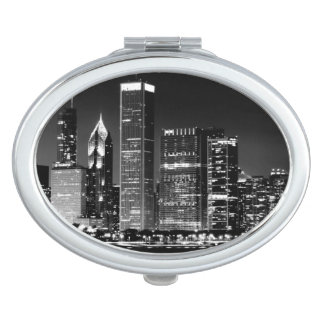 Night view of Chicago's famous cityscape Vanity Mirror