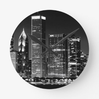 Night view of Chicago's famous cityscape Wall Clocks