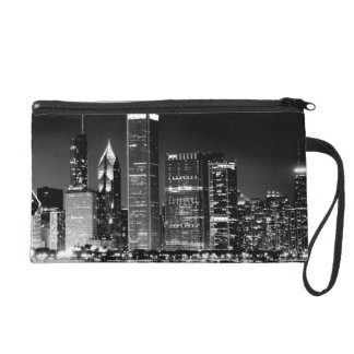 Night view of Chicago's famous cityscape Wristlet Clutches