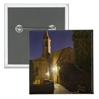 Night view of church at dusk, Pienza, Italy 15 Cm Square Badge