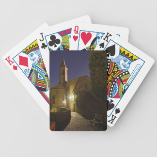 Night view of church at dusk, Pienza, Italy Poker Deck