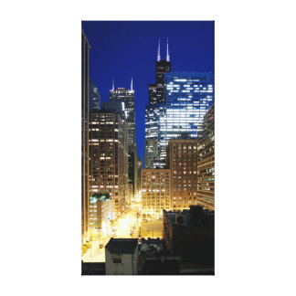 Night view of cityscape of Chicago Gallery Wrapped Canvas